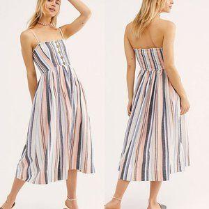 NWT Free People Multi Striped Pleated Tube Dress
